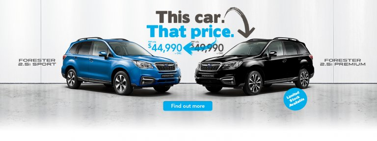 Buy a Forester 2.5i Premium for the RRP of the Forester 2.5i Sport for a limited time only.