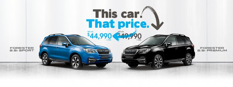 Buy a 2017 Forester 2.5i Premium for the price of a Forester 2.5i Sport for a limited time!