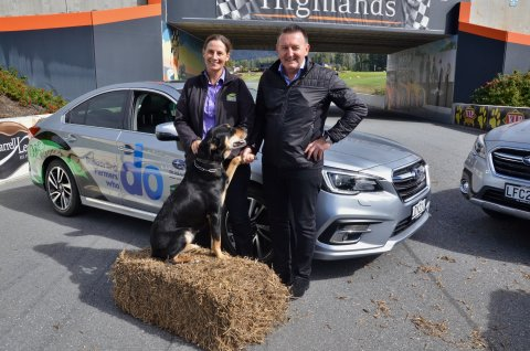 Subaru of New Zealand Managing Director Wallis Dumper and Federated Farmers President Katie Milne launch the new partnership at Highlands Motorsport Park in Cromwell.