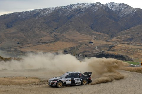 Alister McRae powers up to victory in the final Race to the Sky event in 2015 driving the Vantage Subaru. PHOTO: EUAN CAMERON.