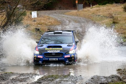 Subaru driver Ben Hunt and co-driver Tony Rawstorn powered the Subaru WRX STi into second place in today's Lone Star Rally of Canterbury. PHOTO: GEOFF RIDDER.