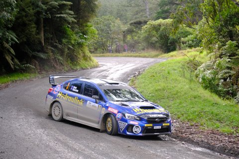 Subaru brand ambassador Ben Hunt and his co-driver Tony Rawstorn finished a close second to Hayden Paddon in their Subaru WRX STI at the Goldrush Rally of Coromandel today. PHOTO: GEOFF RIDDER.