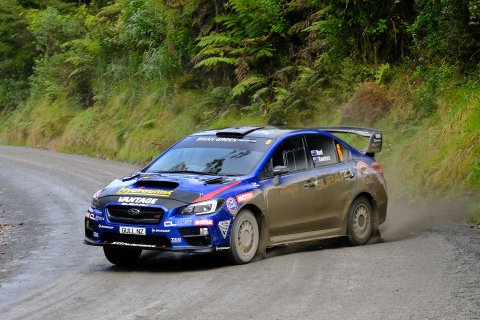Ben Hunt and Tony Rawstorn, on their way to third place in the Subaru WRX STi, at the Mahindra Goldrush Rally of Coromandel. PHOTO: GEOFF RIDDER.
