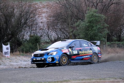 Subaru WRX STI driver Ben Hunt and co-driver Tony Rawstorn scored their second consecutive runner-up placing in the Rally of South Canterbury today. PHOTO: GEOFF RIDDER.