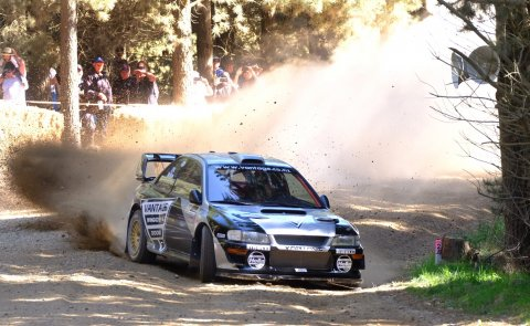 Alister McRae in the Vantage Subaru WRC on his way to becoming the first international driver to win the Ashley Forest Rallysprint. PHOTO: GEOFF RIDDER.