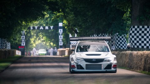 Subaru Impreza driver Olly Clarke winning the Goodwood Festival of Speed Shootout.  Please credit: Goodwood Festival of Speed.