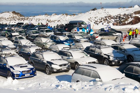Two hundred Subarus in the top carpark at Turoa skifield for the Subaru Top Weekend last year. PHOTO CREDIT: PAUL BRUNSKILL