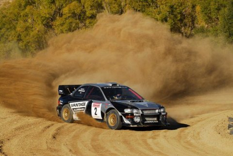 Alister McCrae drives Possum Bourne's car at Race To The Sky 2015.