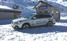 A Subaru Outback at the Turoa Ski Area celebrating the 20-year partnership between Subaru and RAL in 2018.