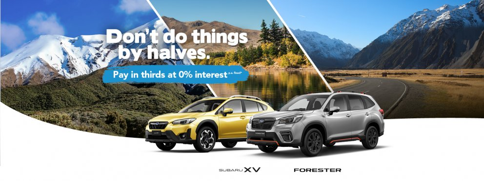 Pay in thirds with 0% interest p.a. fixed on a new Subaru XV or Forester X Sport.