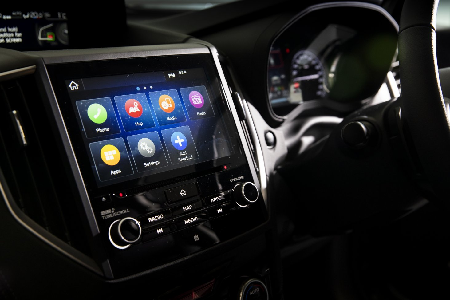 The Subaru Forester infotainment system.