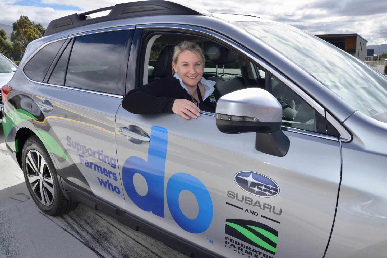 Laura Sanford, Federated Farmers Territory Manager with her new Subaru Outback