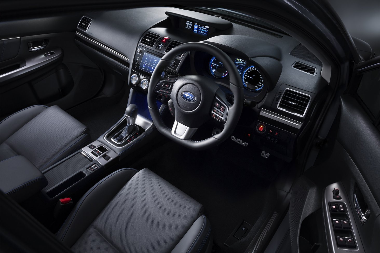 The Subaru Levorg cabin looks smart with a blue stitched interior trim.