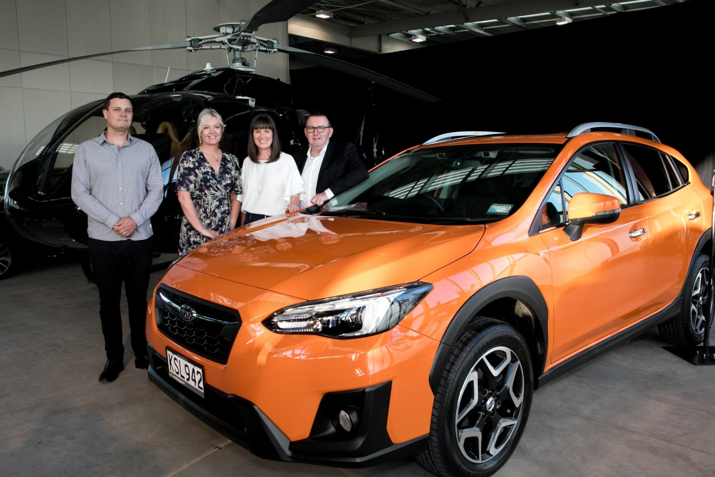 Pictured with the award-winning Subaru XV are (from left) NZ Autocar Editor Kyle Cassidy, AMI Community Engagement Manager Eve Whitwell, Subaru of NZ Marketing Manager Daile Stephens and Subaru of NZ Managing Director Wallis Dumper. PHOTO: CARMEN BIRD.