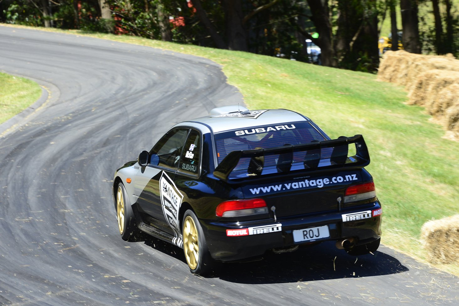 Alister McRae storms up the Leadfoot Festival driveway in the Vantage Motorsport Subaru WRX to record the winning time of 49.43secs today. PHOTO: GEOFF RIDDER.