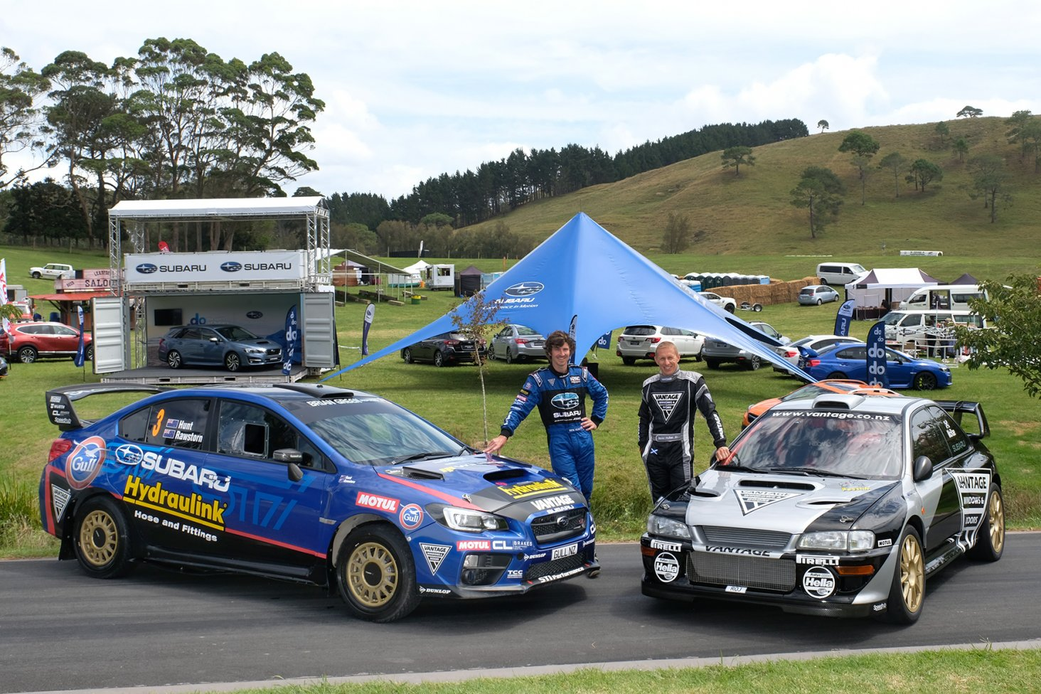 Subaru drivers Ben Hunt (left) with his Subaru WRX STi rally car and Alister McRae with the Vantage Motorsport Subaru. PHOTO: GEOFF RIDDER.