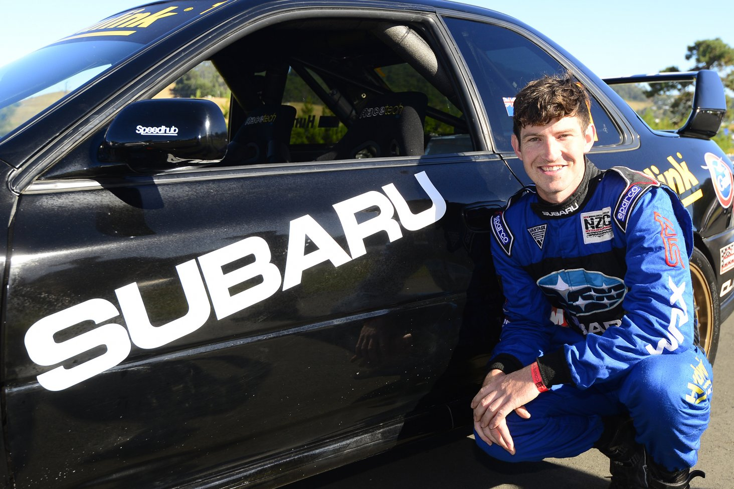Subaru Brand Ambassador Ben Hunt with the 1999 Subaru WRX Coupe he is driving at the Leadfoot Festival. PHOTO: GEOFF RIDDER