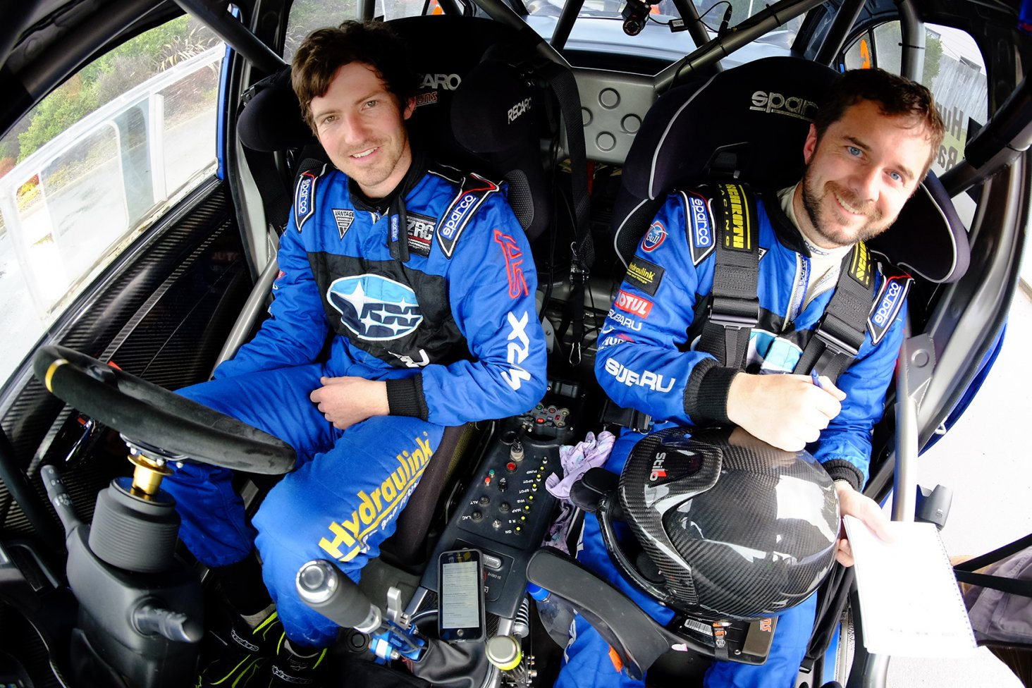 Subaru driver Ben Hunt (left) and co-driver Tony Rawstorn inside the cabin of the Subaru WRX STi. PHOTO: GEOFF RIDDER.