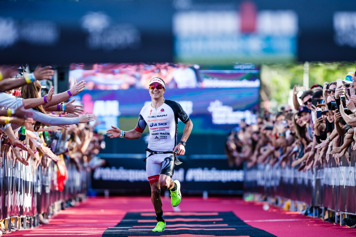 Braden Currie on the home straight at Ironman Cairns 2018. Photo Credit Korupt Vision.