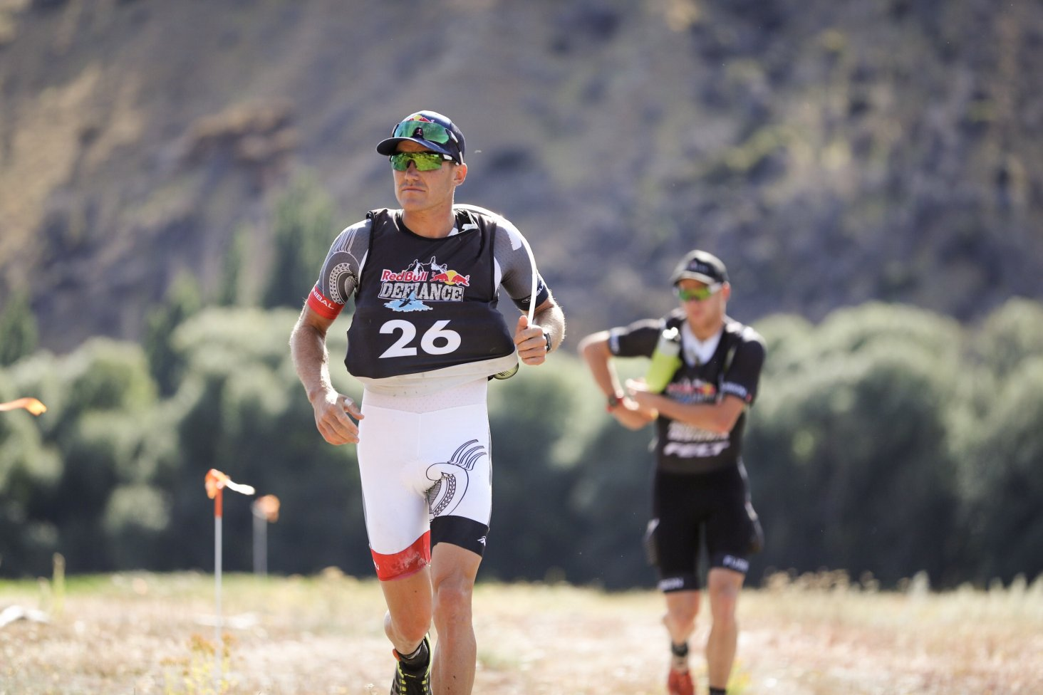 Subaru Brand Ambassador Braden Currie (front) runs through part of the Red Bull Defiance course in Wanaka this weekend, with team mate Dougal Allan. PHOTO: GRAEME MURRAY.