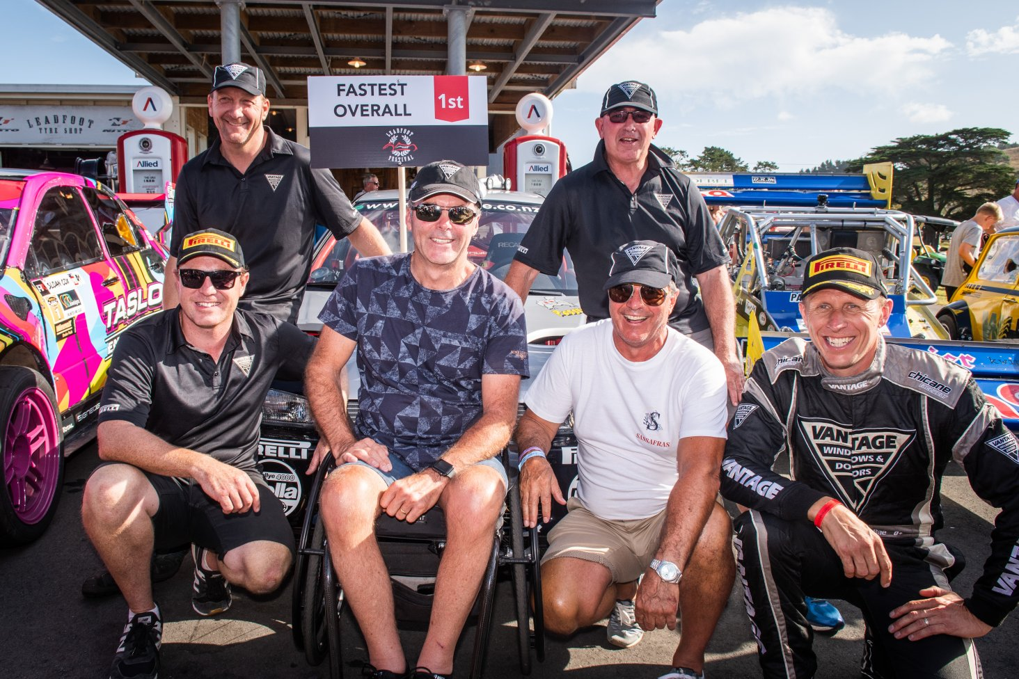 The Vantage team celebrates the win. Behind is Paul Hayton (left) and Chris Kitzen and front (left to right) is Mike Thompson, Vantage Principal Craig Vincent, Vantage Managing Director Mitch Plaw and driver Alister McRae. PHOTO: WISHART MEDIA.