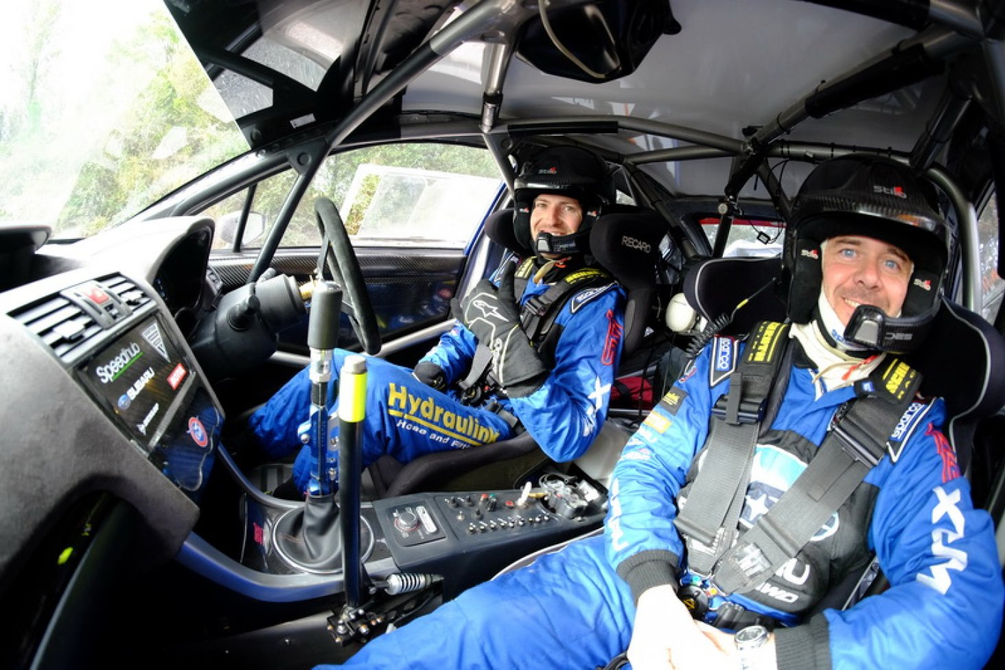 Ben Hunt (left) and co-driver Tony Rawstorn inside the cockpit of the Subaru WRX STi at the ENOS International Rally of Whangarei this weekend. PHOTO: GEOFF RIDDER.