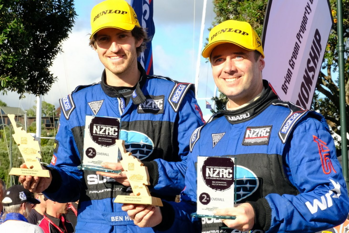 Ben Hunt (left) and Tony Rawstorn with their second-placed trophies from the ENOS International Rally of Whangarei today. PHOTO: GEOFF RIDDER.