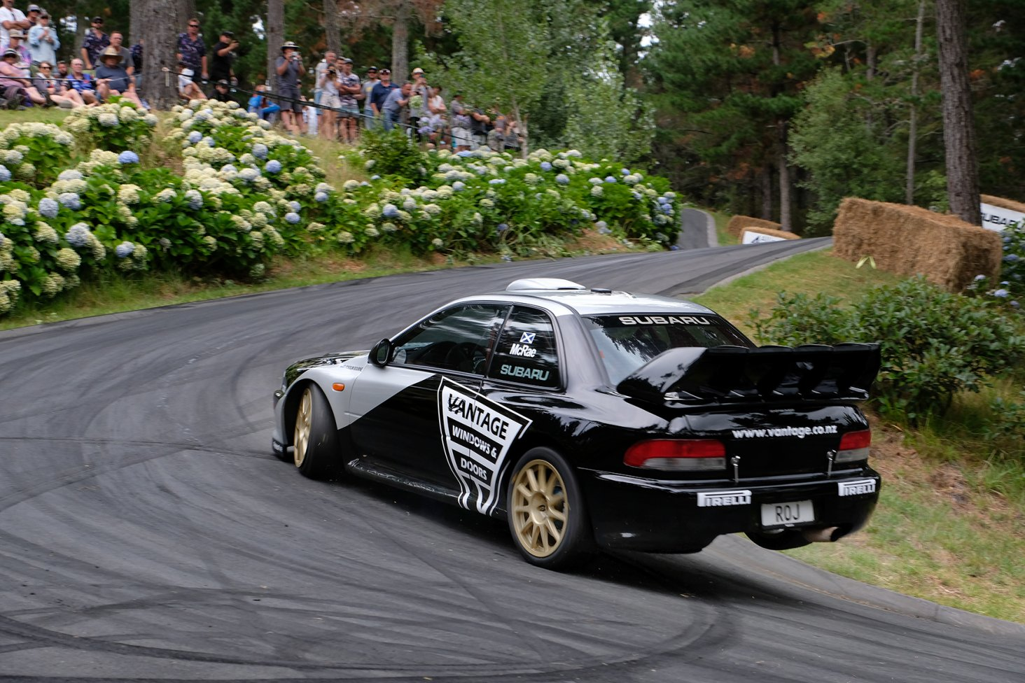 Alister McRae powers the Vantage Subaru up the Leadfoot Festival driveway. PHOTO: GEOFF RIDDER.