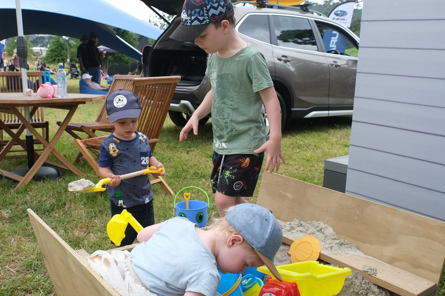 The new Subaru stand is child-friendly.