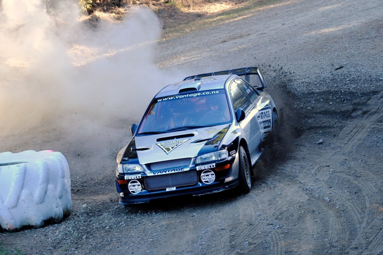 The Vantage Subaru WRC rounds the hairpin bend at the top of the course. PHOTO: GEOFF RIDDER.
