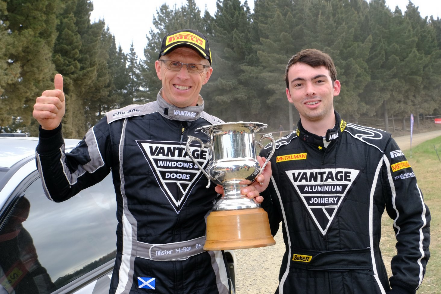 Alister McRae and co-driver Nick Taylor with the winner's trophy from the Ashley Forest Rallysprint. PHOTO: GEOFF RIDDER.