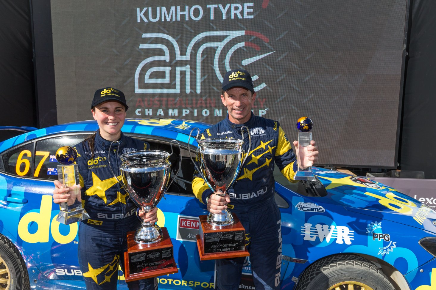 Australians Molly Taylor and co-driver Bill Hayes won the Australian Rally Championhsip in their All-Wheel Drive Group N production class Subaru WRX STi NR4 yesterday. PHOTO CREDIT: SUBARU AUSTRALIA