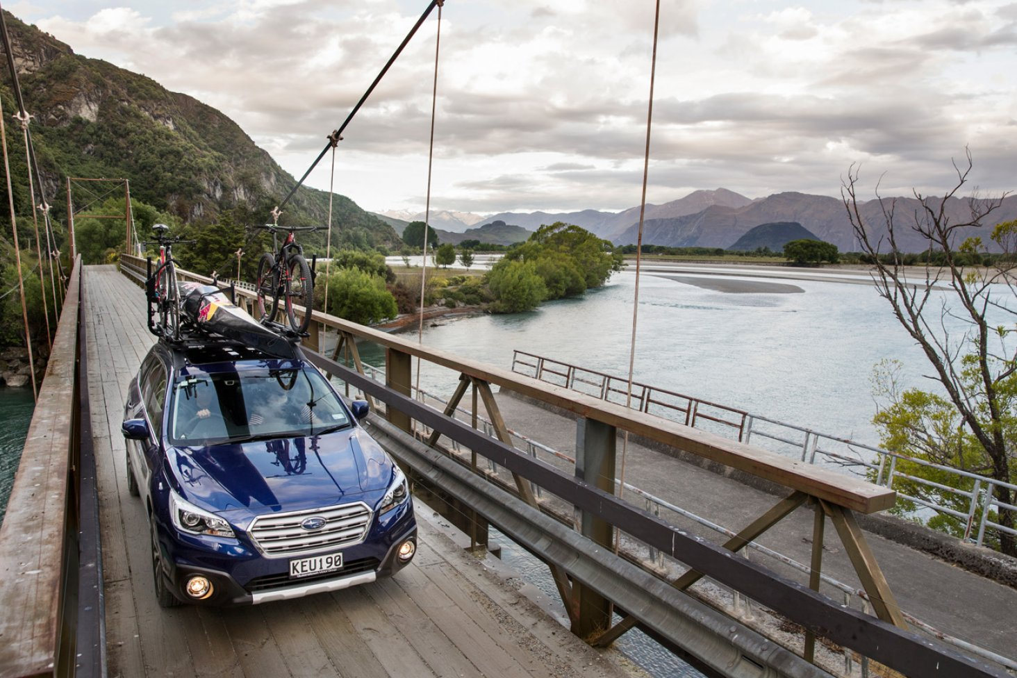 Subaru Brand Ambassador Braden Currie with his Subaru Outback, which will be supporting him on Saturday's longest day, in his quest for a fourth Kathmandu Coast to Coast title. PHOTOS FREE FOR EDITORIAL USE.
