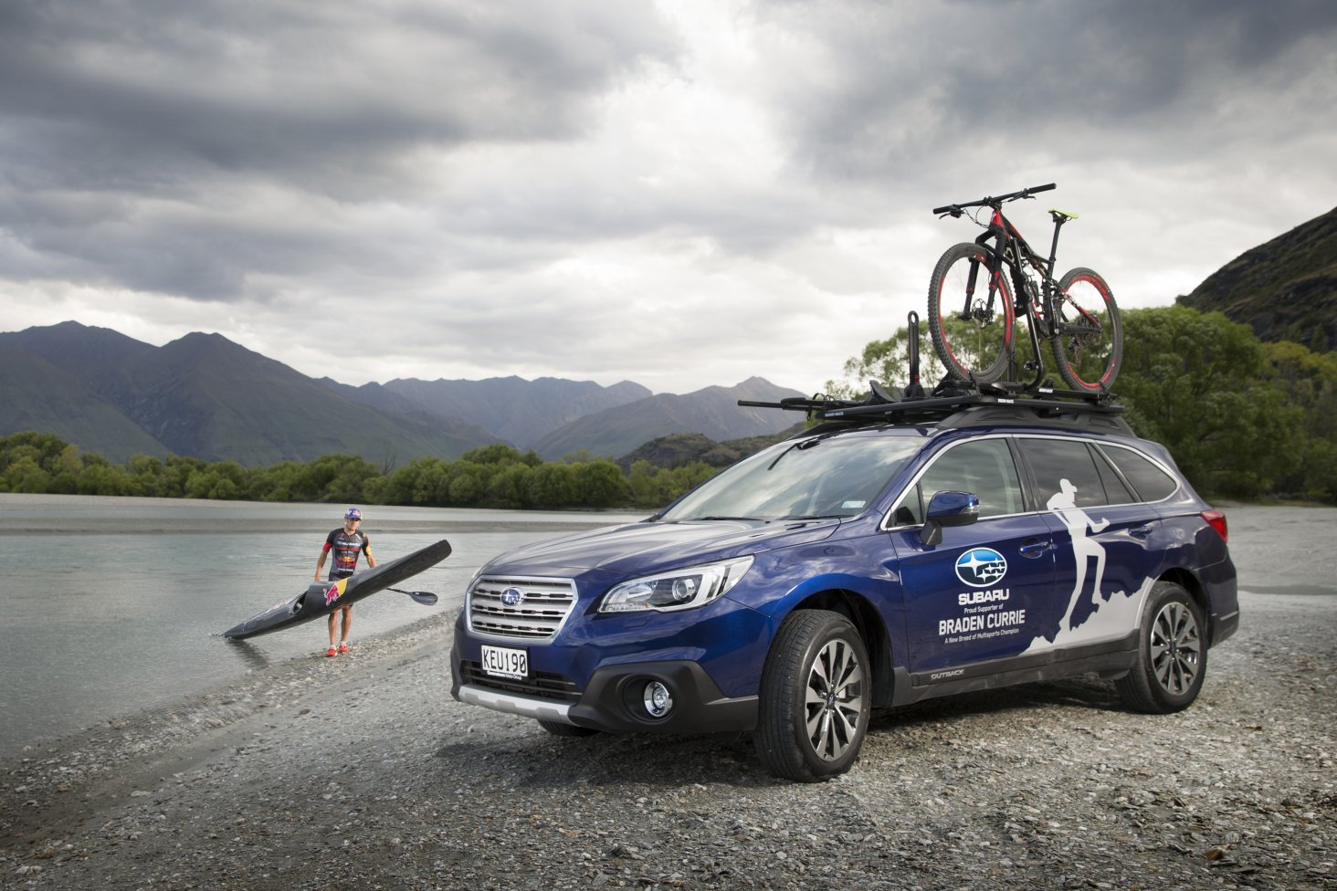 Subaru Brand Ambassador Braden Currie with his Subaru Outback, which has enabled him to 'do' his very best to prepare for a fourth Kathmandu Coast to Coast victory in February. PHOTO FREE FOR EDITORIAL USE.