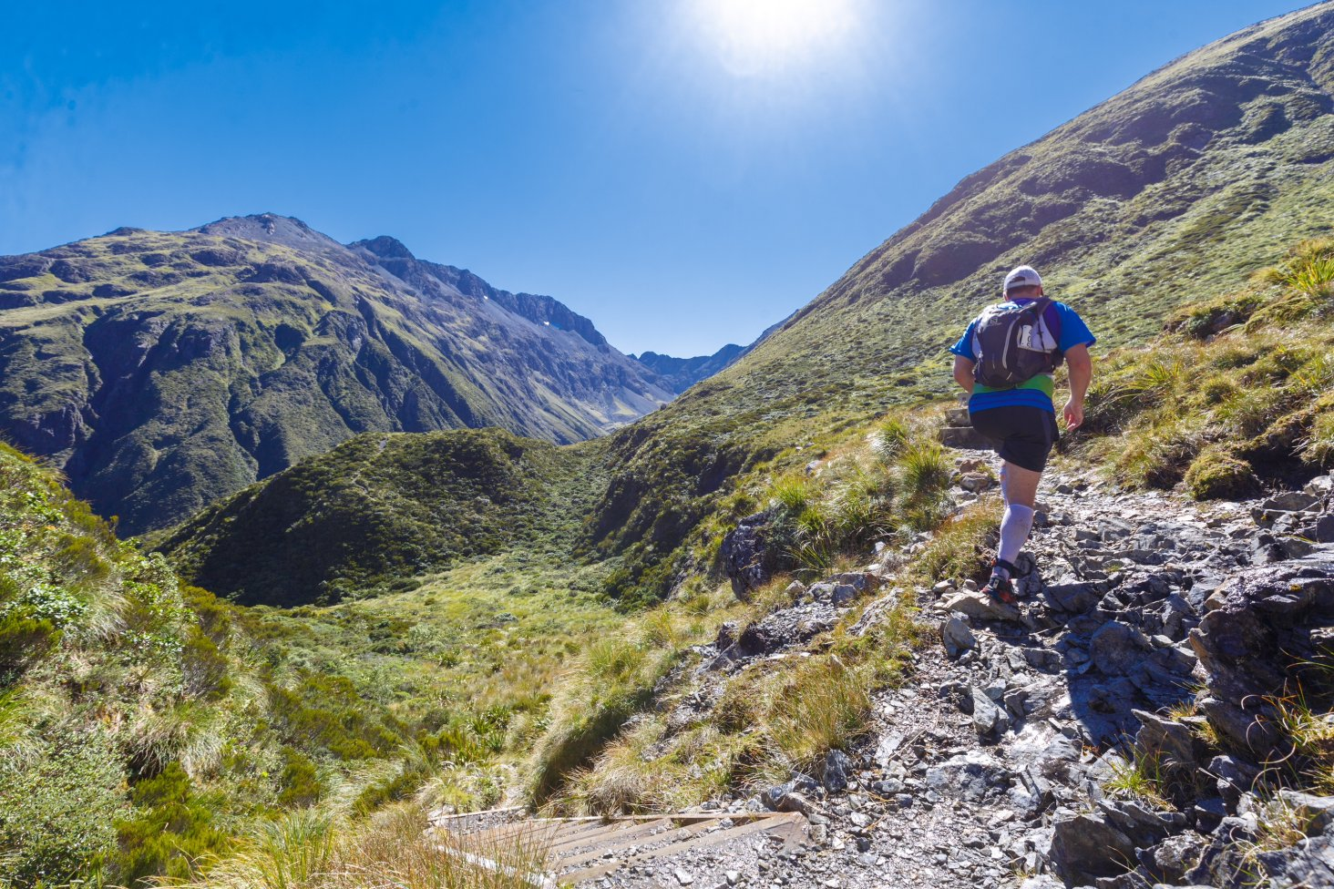 A runner makes his way over Goat Pass in the Kathmandu Coast to Coast.
