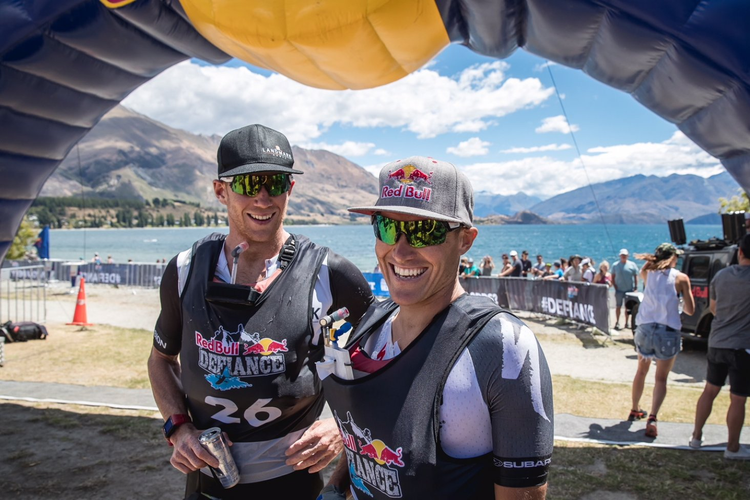 Team mates Dougal Allan (left) and Subaru Brand Ambassador Braden Currie won the 2018 Red Bull Defiance, two-day multi-sport race in Wanaka, this weekend. PHOTO: MILES HOLDEN