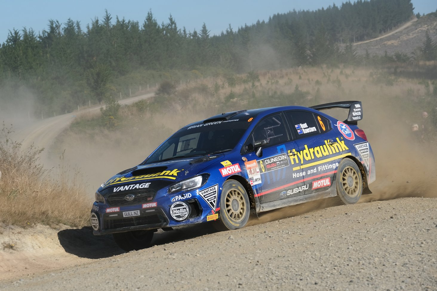 Ben Hunt and Tony Rawstorn in the Subaru WRX STI on their way to winning the NZRC section of the Drivesouth Rally of Otago. Photo: Geoff Ridder.