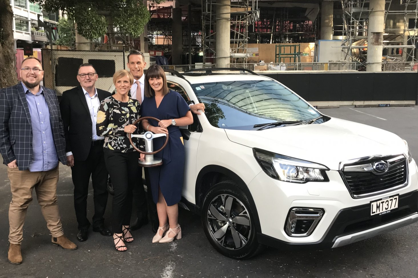 At tonight's NZ Car of the Year presentation are NZ Motoring Writers' Guild president Richard Edwards, Subaru New Zealand Managing Director Wallis Dumper, Seven Sharp hosts Hilary Barry and Jeremy Wells and Subaru's Marketing Manager Daile Stephens.