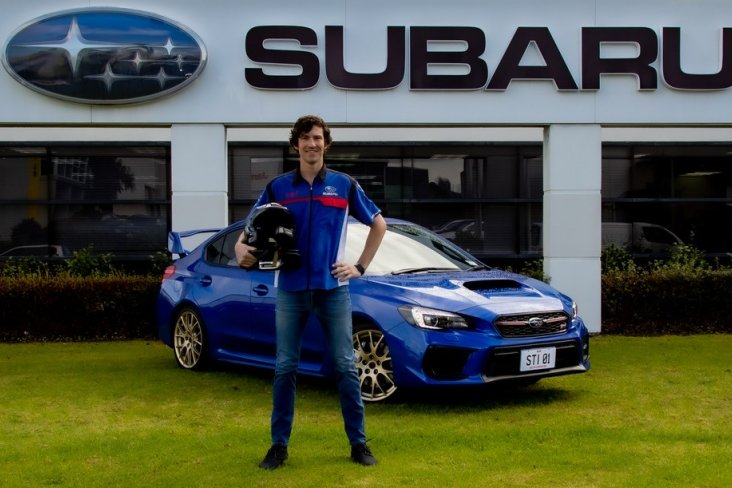 Subaru brand ambassador Ben Hunt with the Saigo WRX STI.