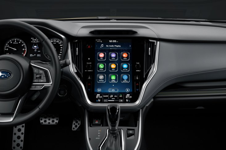 """The 2021 Subaru Outback features an 11.6"""" touch screen and is the most luxurious and technologically advanced Outback ever. (Overseas model shown)."""