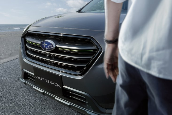 A black grille, with green accents is all part of the Subaru Outback X's appeal.