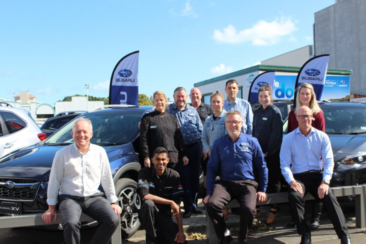 The new W.R. Phillips Subaru Taranaki team with Subaru of New Zealand's Peter Douglas-Bell (far right, bottom row.)