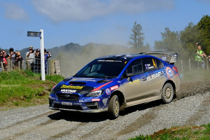 Ben Hunt and Tony Rawstorn on their way to winning the Handy Rentals Hamilton Rally of Waitomo, in the Subaru WRX STi. PHOTO: GEOFF RIDDER.