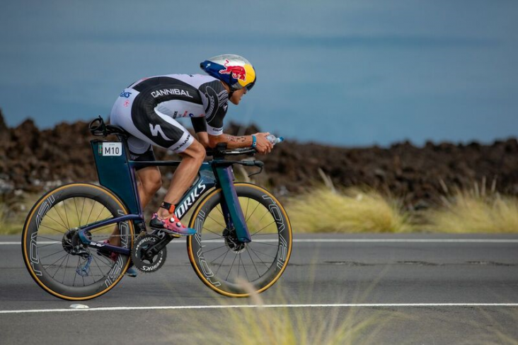 Braden Currie out on the bike course at the World Ironman Championships in Hawaii today. PHOTO: SHANE HARRISON.