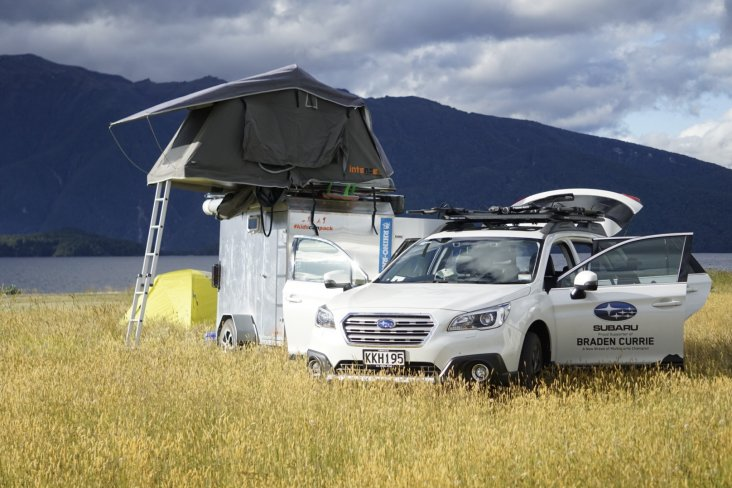 Braden Currie's ultimate Subaru Outback summer set-up.
