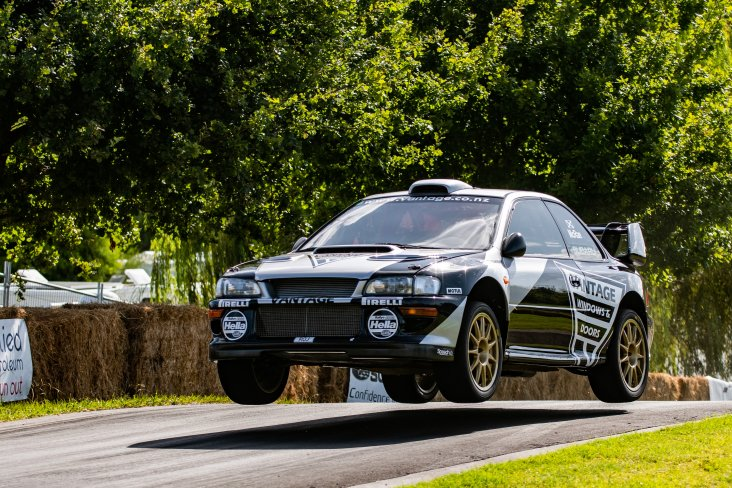 Vantage Subaru Alister McRae gives it everything in the ex-Possum Bourne 1998 Subaru WRX STI to break the Leadfoot Festival's record. PHOTO: WISHART MEDIA.