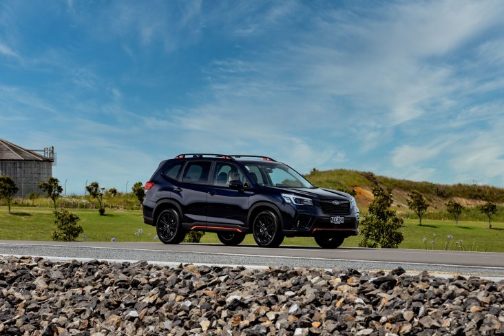 On the exterior the Forester X Sport's front, side, rear under guard and roof rails all get the orange accent treatment.