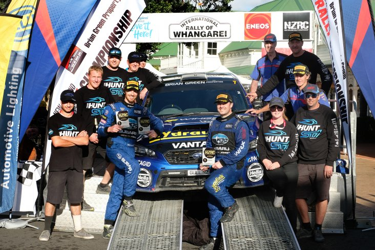 The Hunt Motorsports team celebrates their second podium result of the 2019 season at the ENOS International Rally of Whangarei this weekend. PHOTO: GEOFF RIDDER.