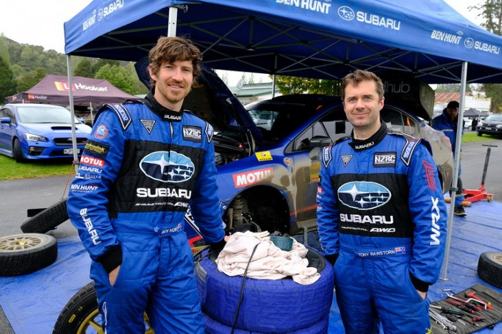 Behind every great driver...there is a great co-driver and Tony Rawstorn (left) has done an impeccable job helping Ben Hunt to winning the 2019 New Zealand Rally Championship driver's title. PHOTO: GEOFF RIDDER.