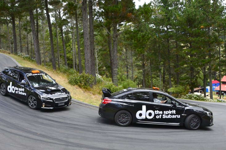Subaru's performance cars will be playing an important role for the Leadfoot competitors over the weekend - as the lead and safety cars - up and down Millen's mountain. PHOTO: GEOFF RIDDER.